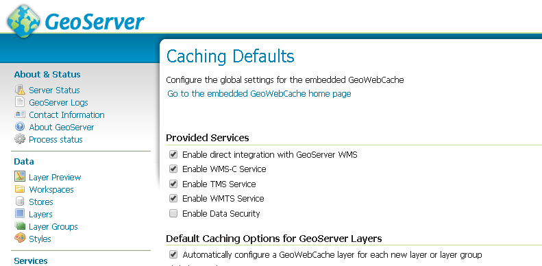 Tile Caching with GeoWebCache — GeoServer Training