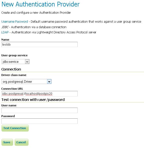 JDBC Authentication Provider — GeoServer Training