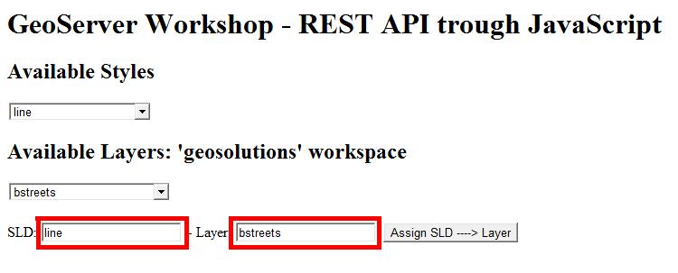 JavaScript REST examples — GeoServer Training