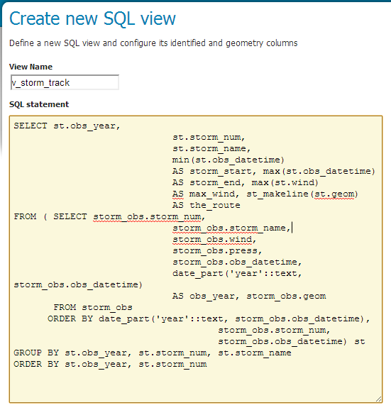 Adding a SQL Parametric View based Layer — GeoServer Training